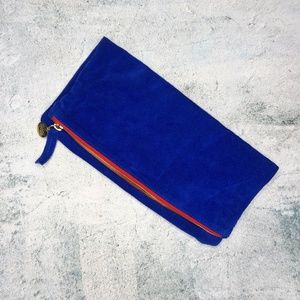 Clare Vivier Blue Suede Fold Over Clutch Purse